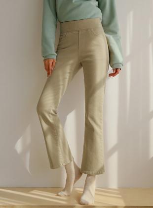Comfortable Brushed Wide Banding Bootcut Pants