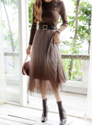 styleonme. Milky Way Gradient Chiffon Shaskirt - Brown