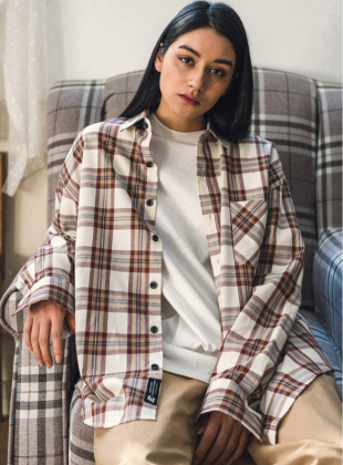 UNISEX Overfit Wave Check Shirt-Brown