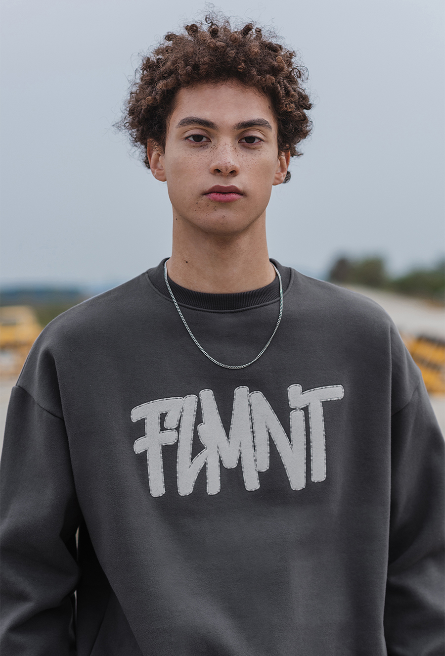 Unisex Overfit Multi Point Logo Sweat Shirt-Charcoal