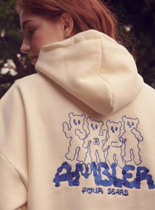 Ambler Four Bears Overfit Hoodie (AHP716_IVORY)