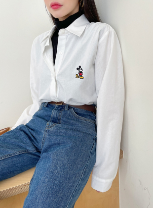 Redundant Mickey Embroidered Shirt