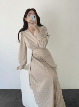 Pleated Belt Wrap Dress