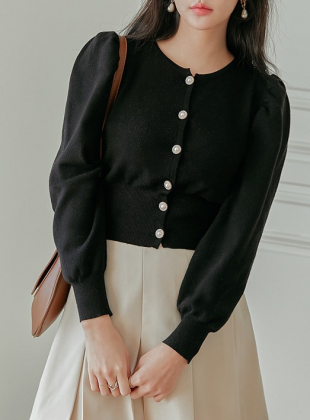 Pearl Button Puff Knit Cardigan