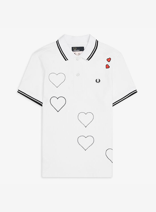 Amy Embroidered Heart Pique Shirt(100)