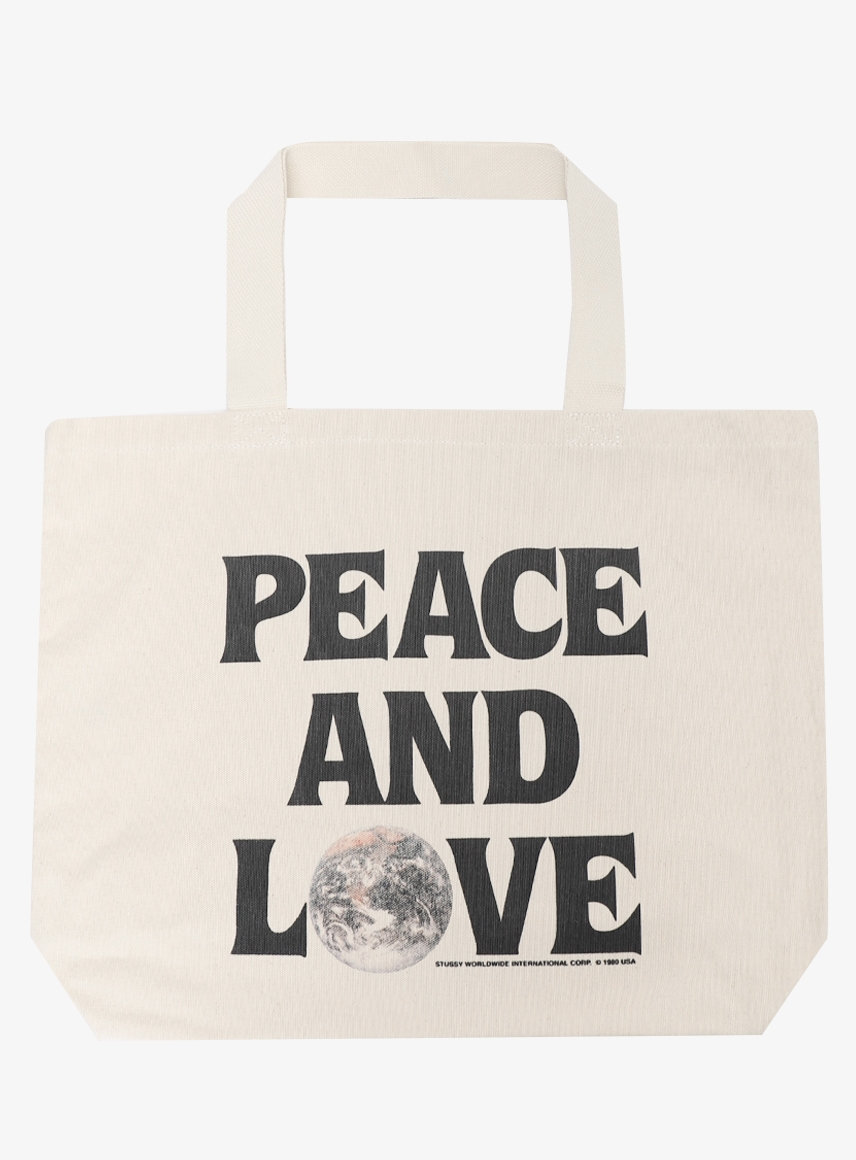 PEACE AND LOVE CANVAS TOTE BAG (134229-NATL)