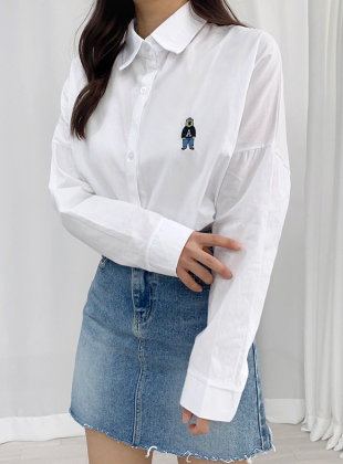 [Campus Look/Embroidery Point] Barry Bear Shirt