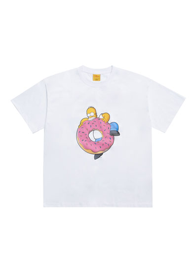 [ADLV X SIMPSONS] DONUTS HOMER SHORT SLEEVE T-SHIRT WHITE