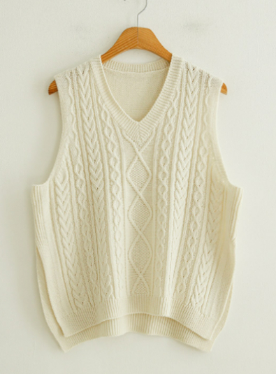 JUSTONE. Heims Twig Split Knit Vest - Cream Color