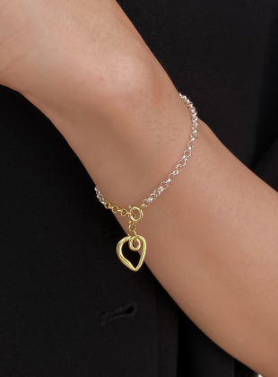 [925 Silver] Soi Two-tone Twisted Heart Pendant Gobang Chain Bracelet