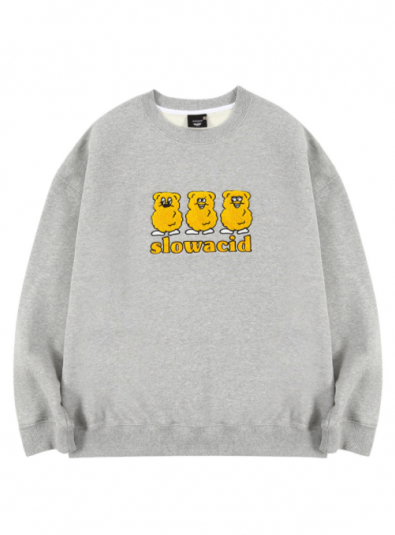 slowacid.SLOWACIDXTEDDYISLAND YELLOW TEDDY SWEATSHIRT (MELANGE GREY)