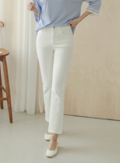 Justone. Ray Secret Banding Slim Date Cotton Pants - white