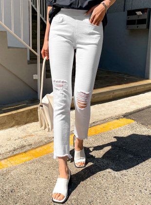 Abed Relief Cut Cotton Trousers
