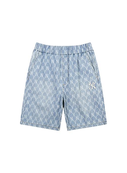 Monogram Print Denim Short Pants New York Yankees - 31DPU1131-50U