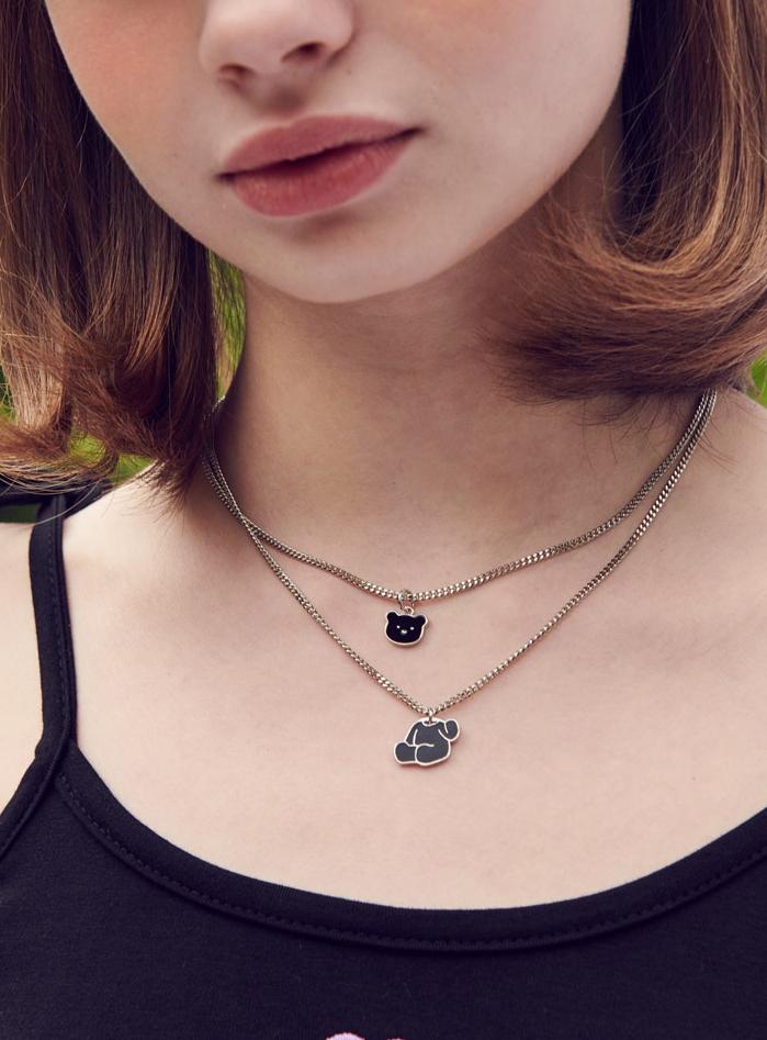 Oops Teddy Bear Layered Steel Necklace (AJ101)