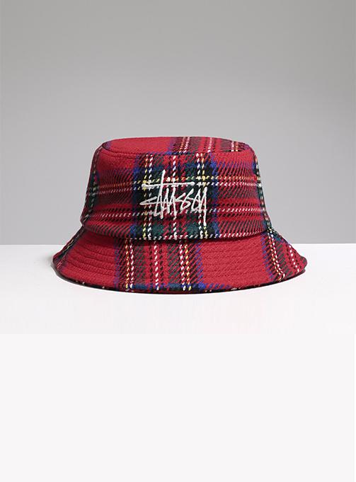 BIG LOGO PLAID BUCKET HAT (1321014-REDD)