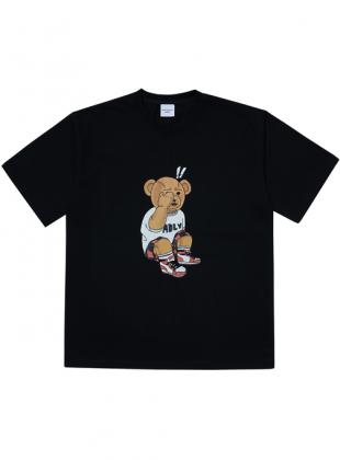 ADLV CHECK PANTS BEAR SHORT SLEEVE T-SHIRT BLACK