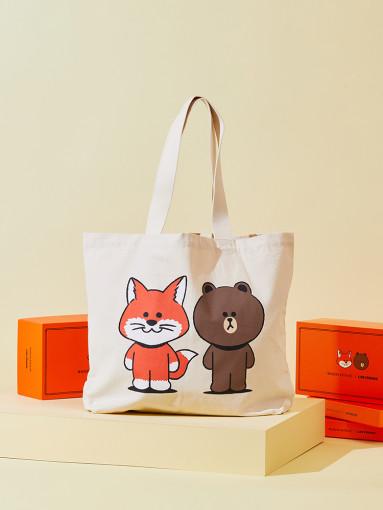 Maison Kitsuné X LINE FRIENDS Collection Big Print Totebag