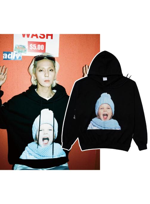 BABY FACE HOODIE BLACK SKY BLUE BEANIE GIRL