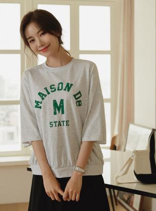 Cent lettering six-sleeve sweatshirt