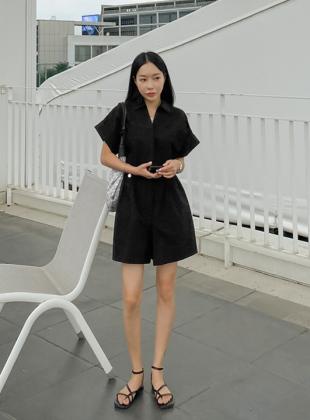 Summer Cotton Collar Neck Short Sleeve Jumpsuit