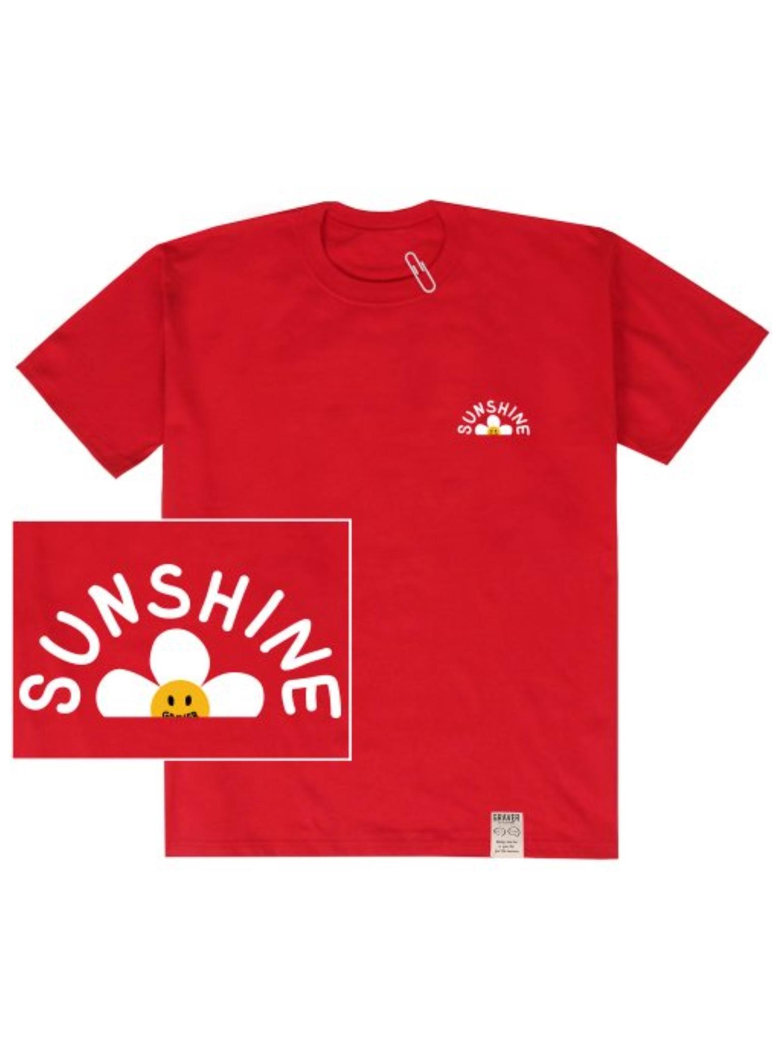 [UNISEX] Sunshine Flower Smile White Clip Short Sleeve Tee_Red