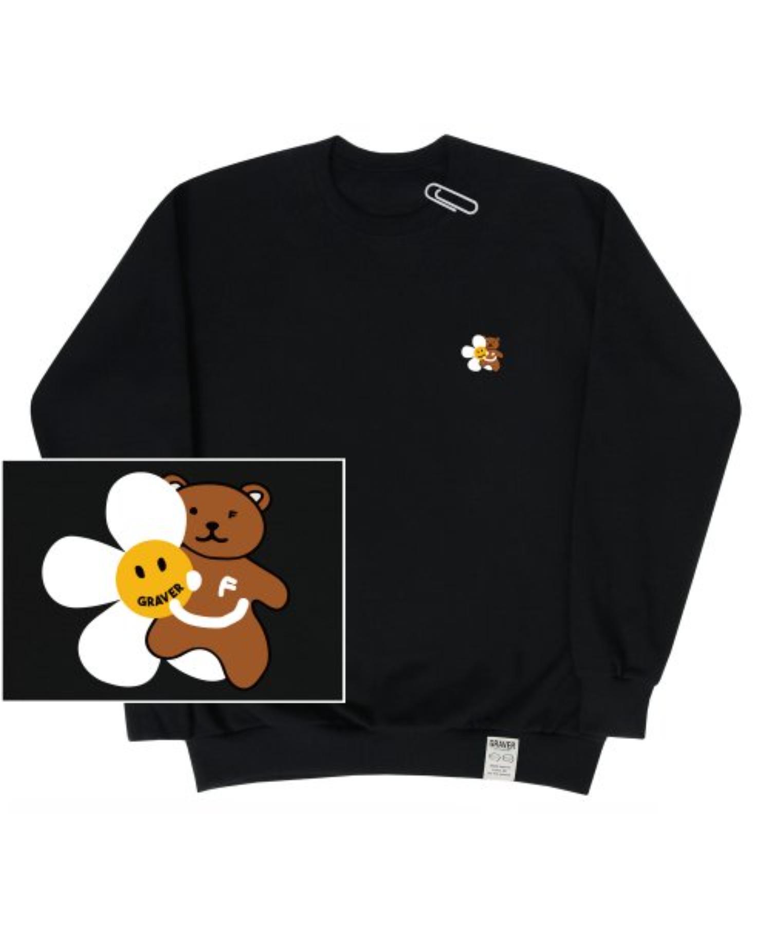 [UNISEX] Small Flower Bear Smile White Clip Sweatshirt_Black