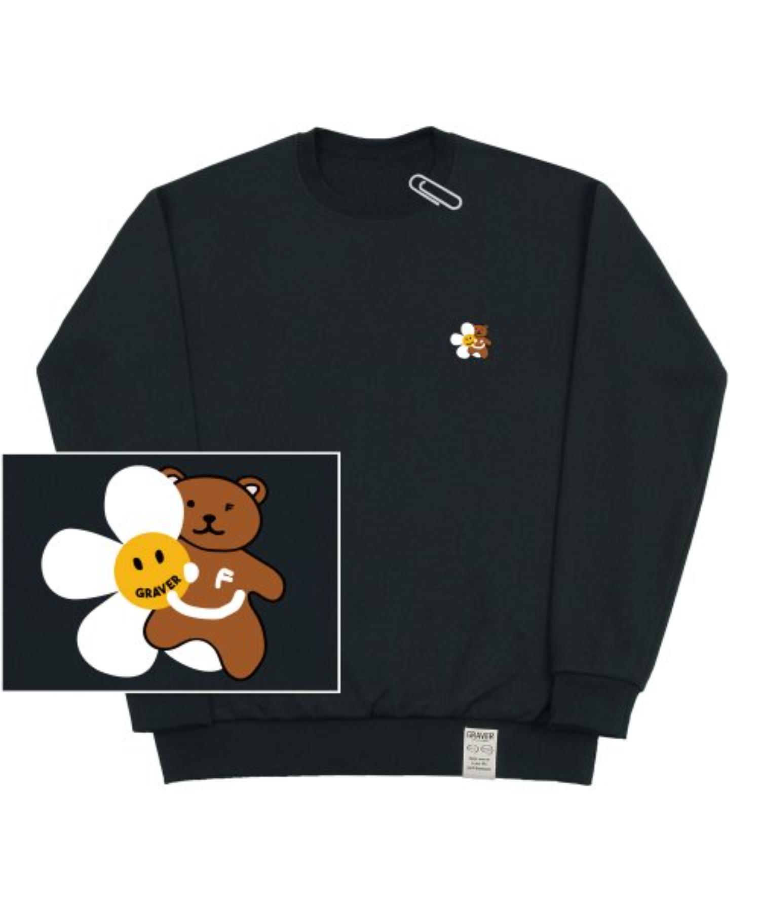 [UNISEX] Small Flower Bear Smile White Clip Sweatshirt_Charcoal