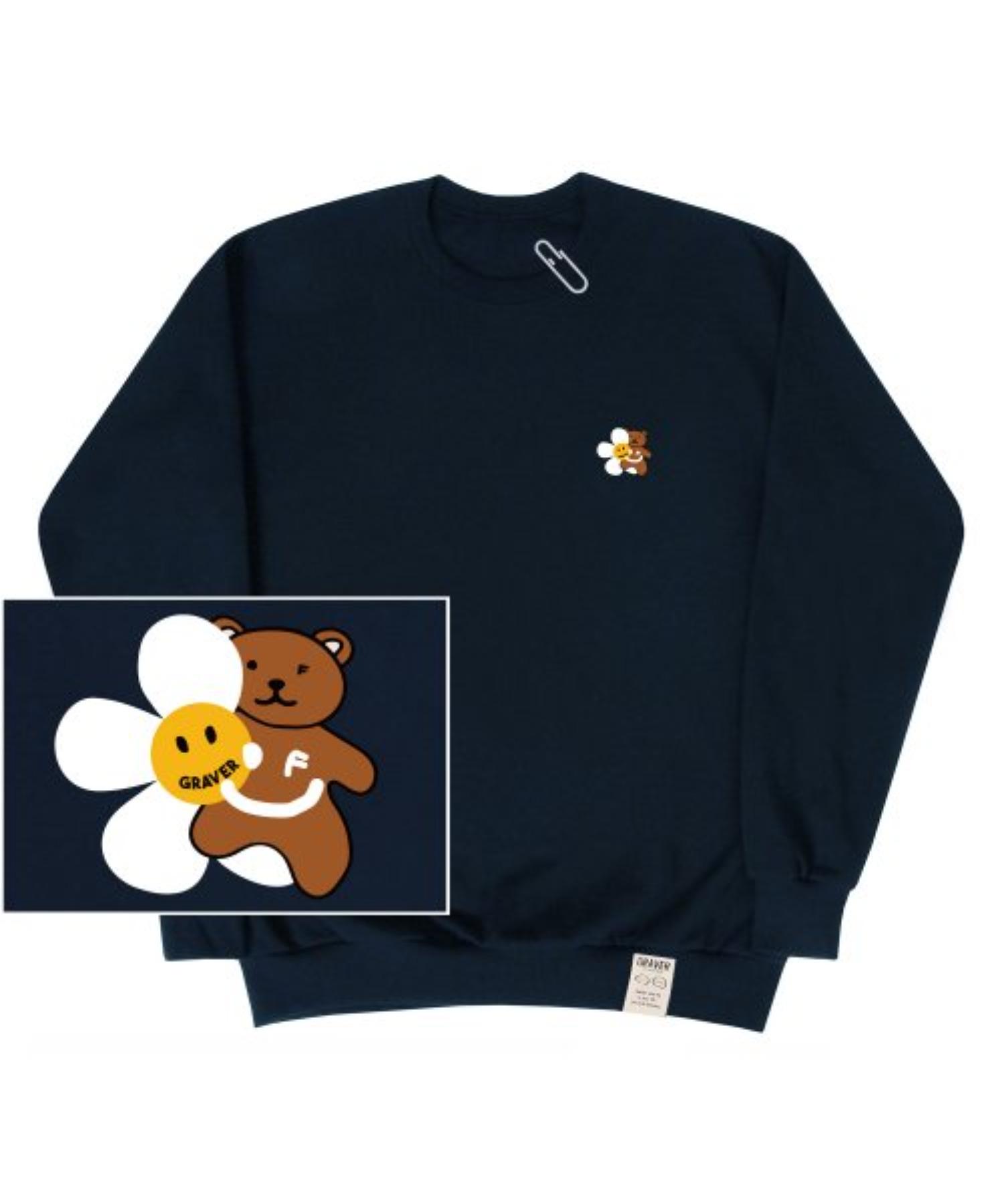 [UNISEX] Small Flower Bear Smile White Clip Sweatshirt_Navy
