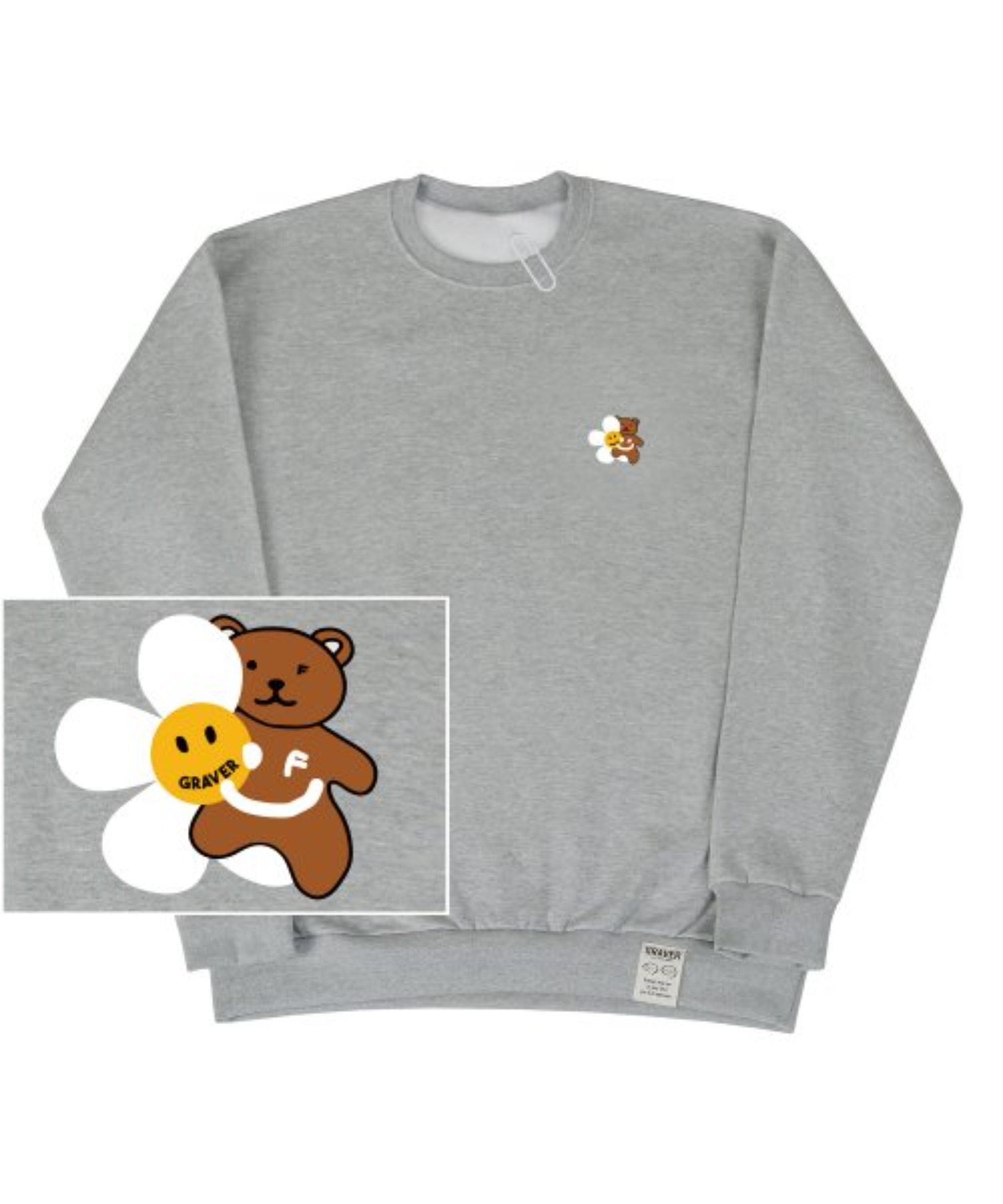 [UNISEX] Small Flower Bear Smile White Clip Sweatshirt_Gray