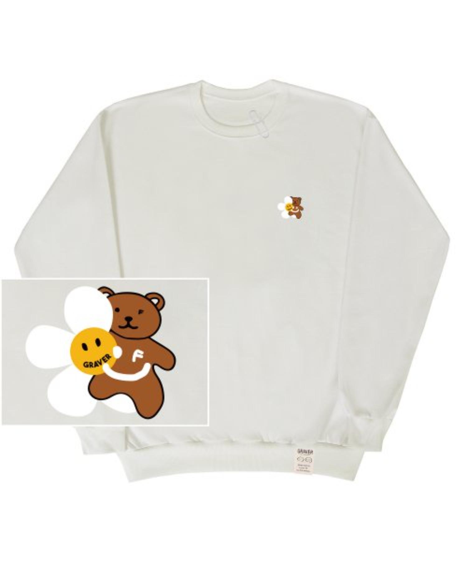 [UNISEX] Small Flower Bear Smile White Clip Sweatshirt_Ivory