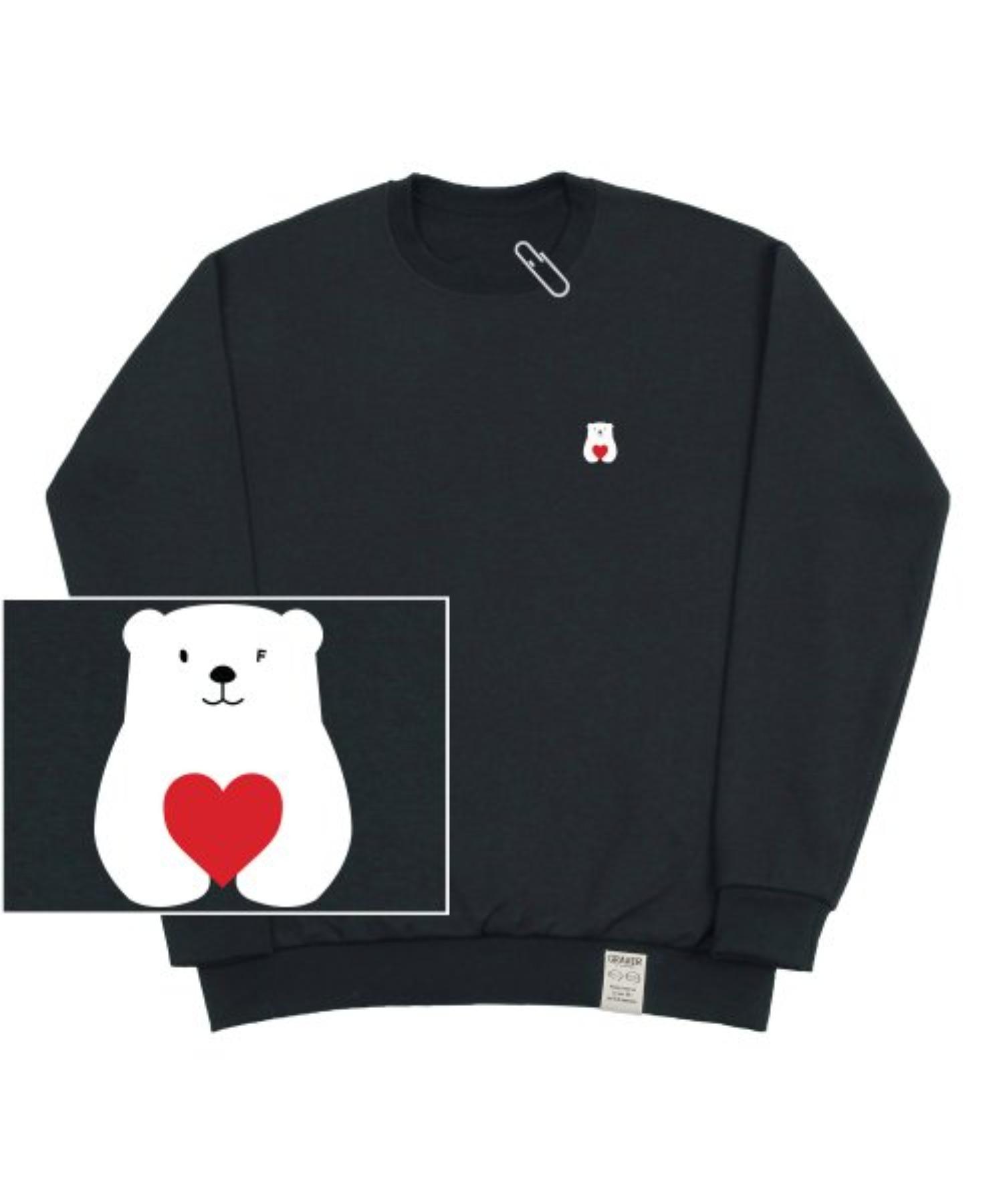 [UNISEX] Small Polar Bear Red Heart White Clip Sweatshirt_Charcoal