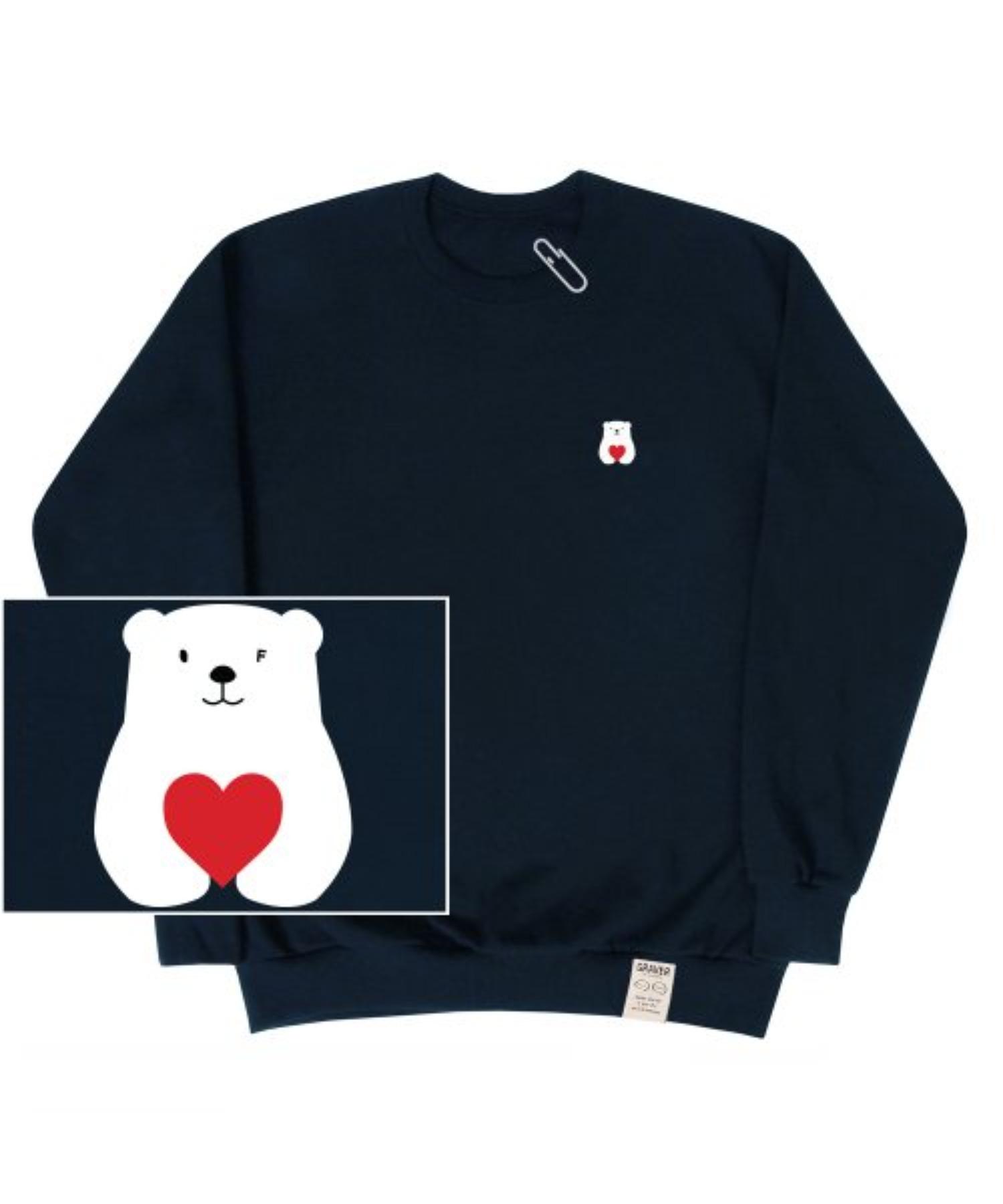 [UNISEX] Small Polar Bear Red Heart White Clip Sweatshirt_Navy