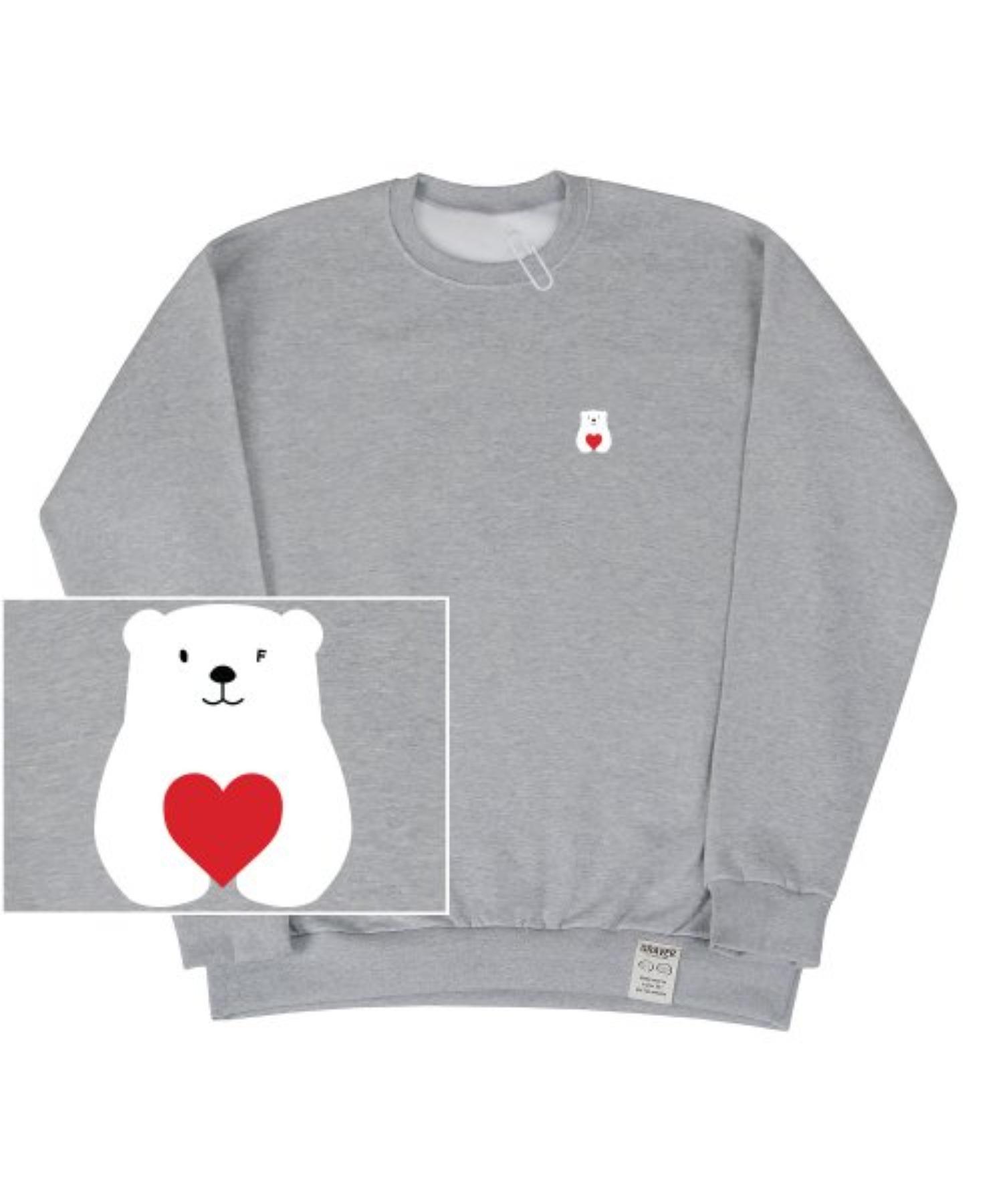[UNISEX] Small Polar Bear Red Heart White Clip Sweatshirt_Gray