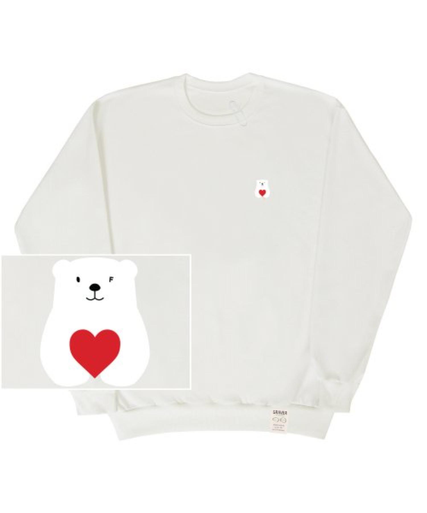 [UNISEX] Small Polar Bear Red Heart White Clip Sweatshirt_Ivory