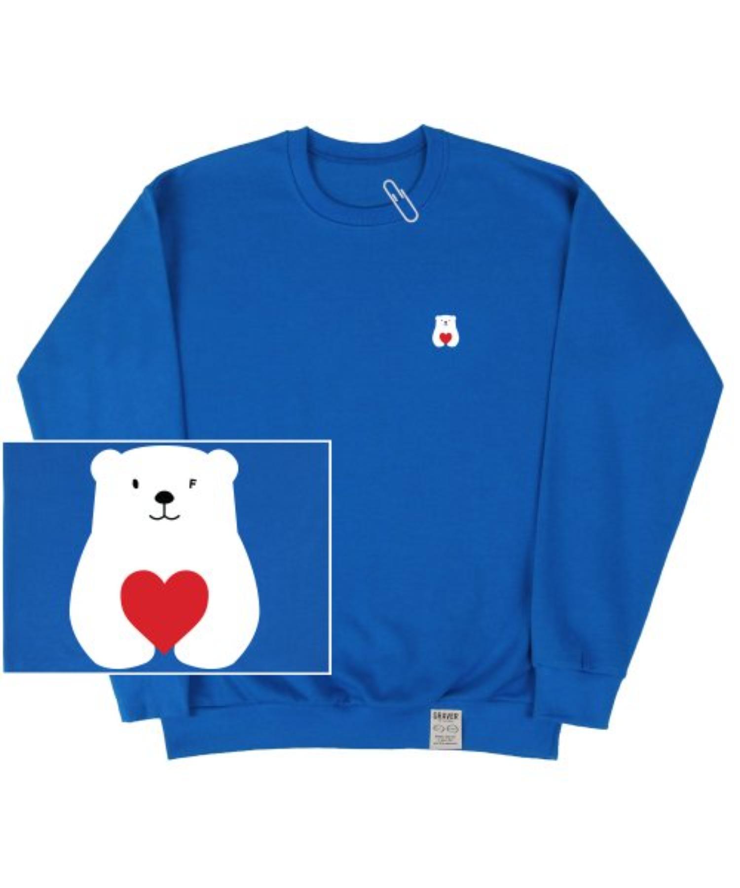 [UNISEX] Small Polar Bear Red Heart White Clip Sweatshirt_Cobalt Blue