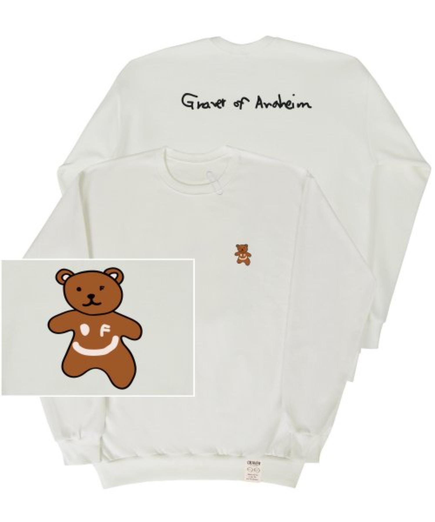 [UNISEX] Small Bear Back Logo White Clip Sweatshirt_Ivory