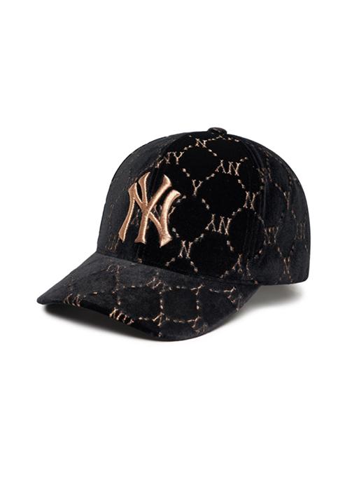 Diamond Monogram Velvet Structure Ball Cap New York Yankees (3ACPFG016-50BKS)