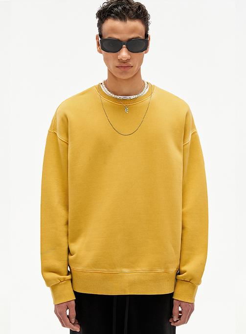 Garment Washed Overfit Sweatshirt YELLOW
