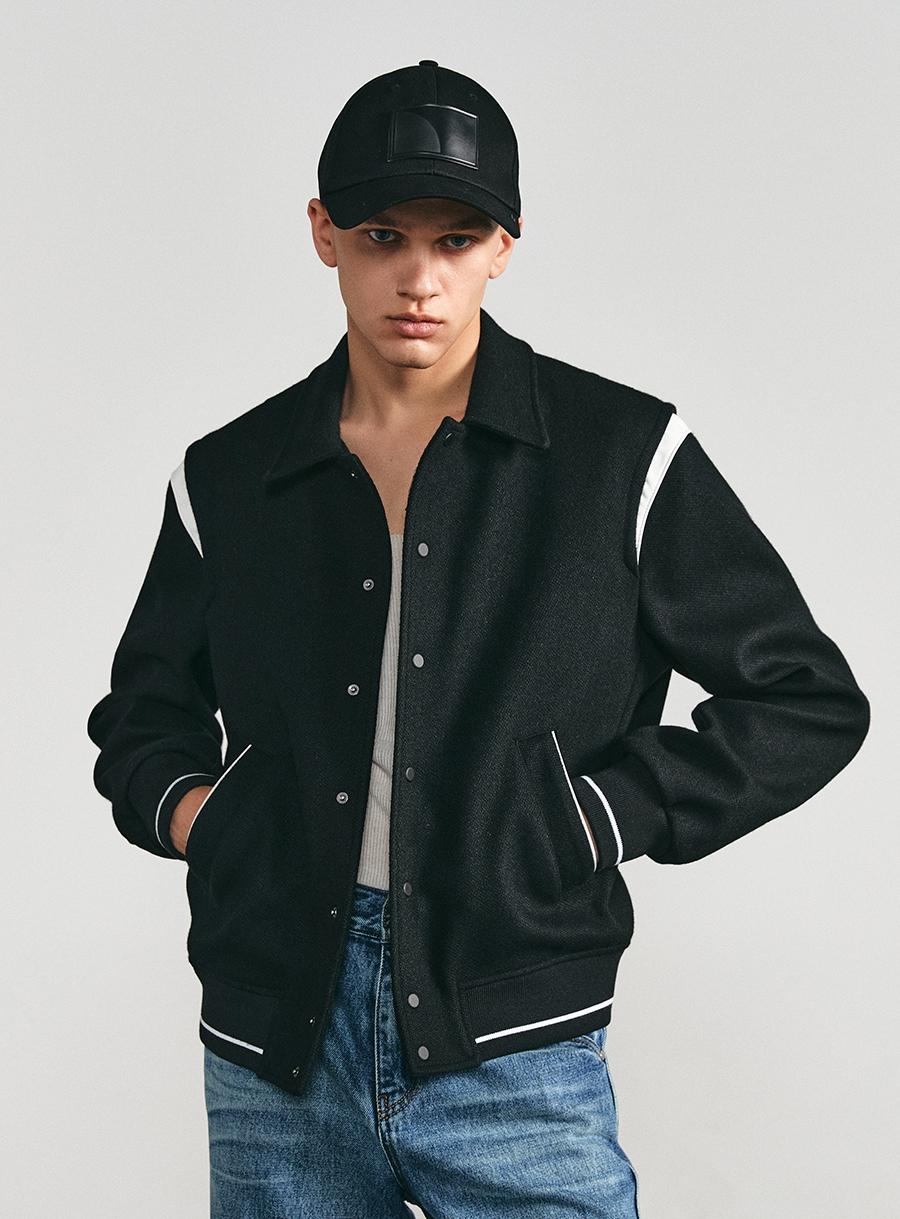 Contemporary Varsity Jacket BLACK