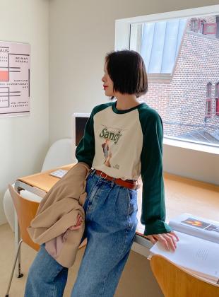 Delviren Reglan Color Matching Print T-shirt