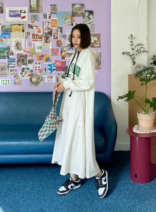 Lot'n Print Hooded Long Dress