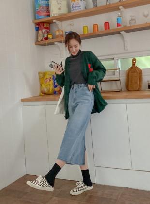 Fleille Banding Denim Long Skirt