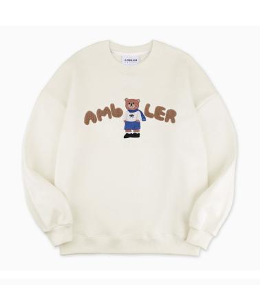 Ambler [Scheduled to ship on 10/29] Embler Winter bear Unisex Overfit Brushed Sweatshirt AMM915 (IVORY)