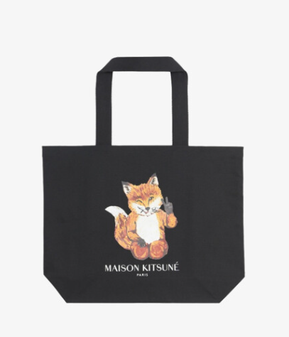Maison Kitsune Unisex ALL-RIGHT Fox Classic Tote Bag (HU05132W)