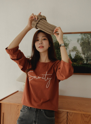Serenity Silk Embroidered Long Sleeve Tee