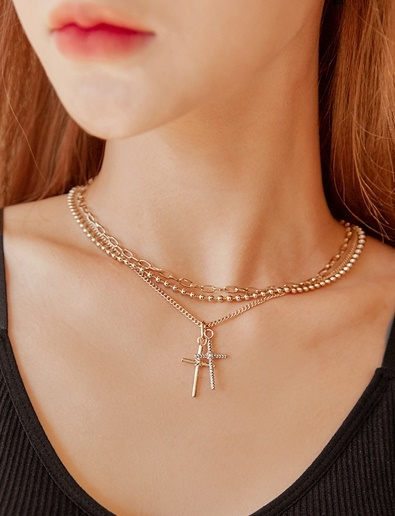 double cross layered Necklace