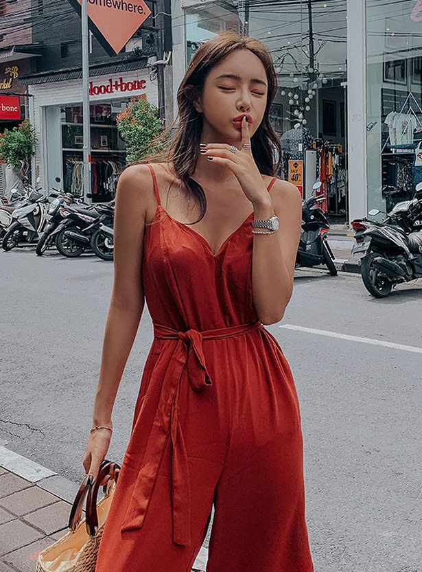 brick slit Jumpsuit