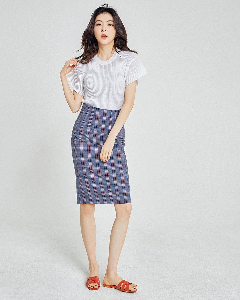 slim check Skirt