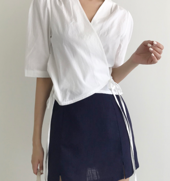 time linen slit Skirt